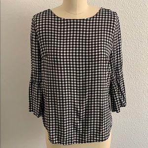 Gingham print blouse sz M